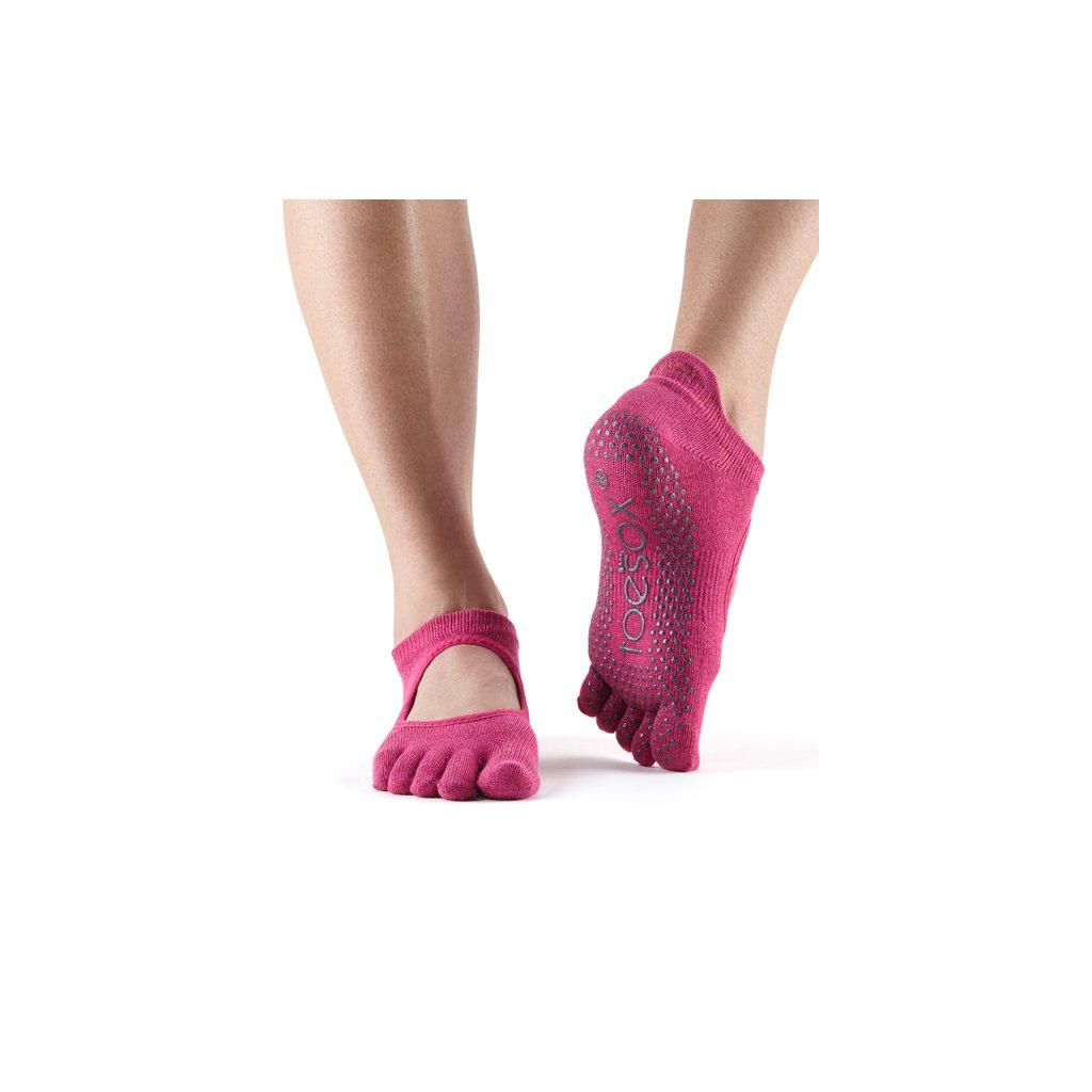 Toesox Fulltoe Bellarina Grip csúszásgátló zokni Raspberry (Veľkosť oblečenia M 39-42.5)