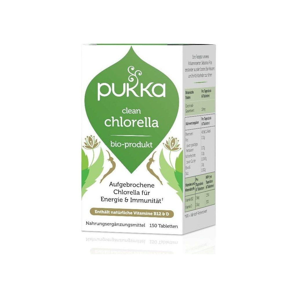 clean chlorella pukka tablety 150 ks pre podporu funkcie bunkovych procesov