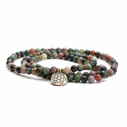 401iam yoga mala armband indischer achat mit charm blume des lebens