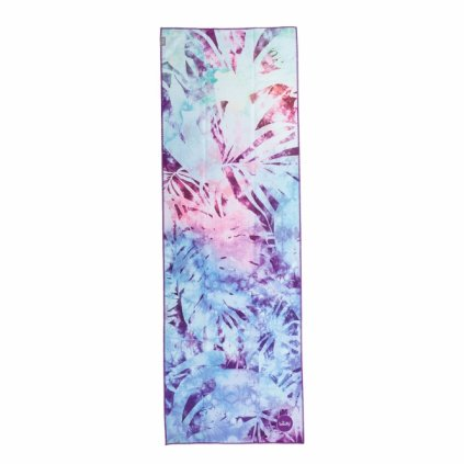 907aal yoga yogatuch grip towel art collection artic leaves blau batik