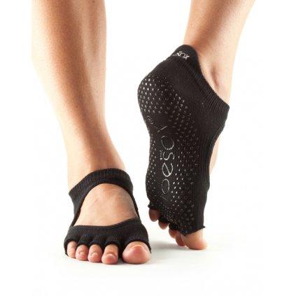 Toesox Halftoe Bellarina Grip csúszásgátló zokni (fekete) (Ruházat mérete L 43-45)