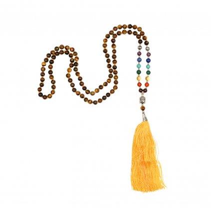 489cta yoga accessoires tigerauge mala gelbe quaste kette