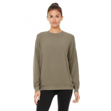 Alo Yoga Soho Pulóver Olive Branch pulóver / olíva pulóver (Ruházat mérete S)
