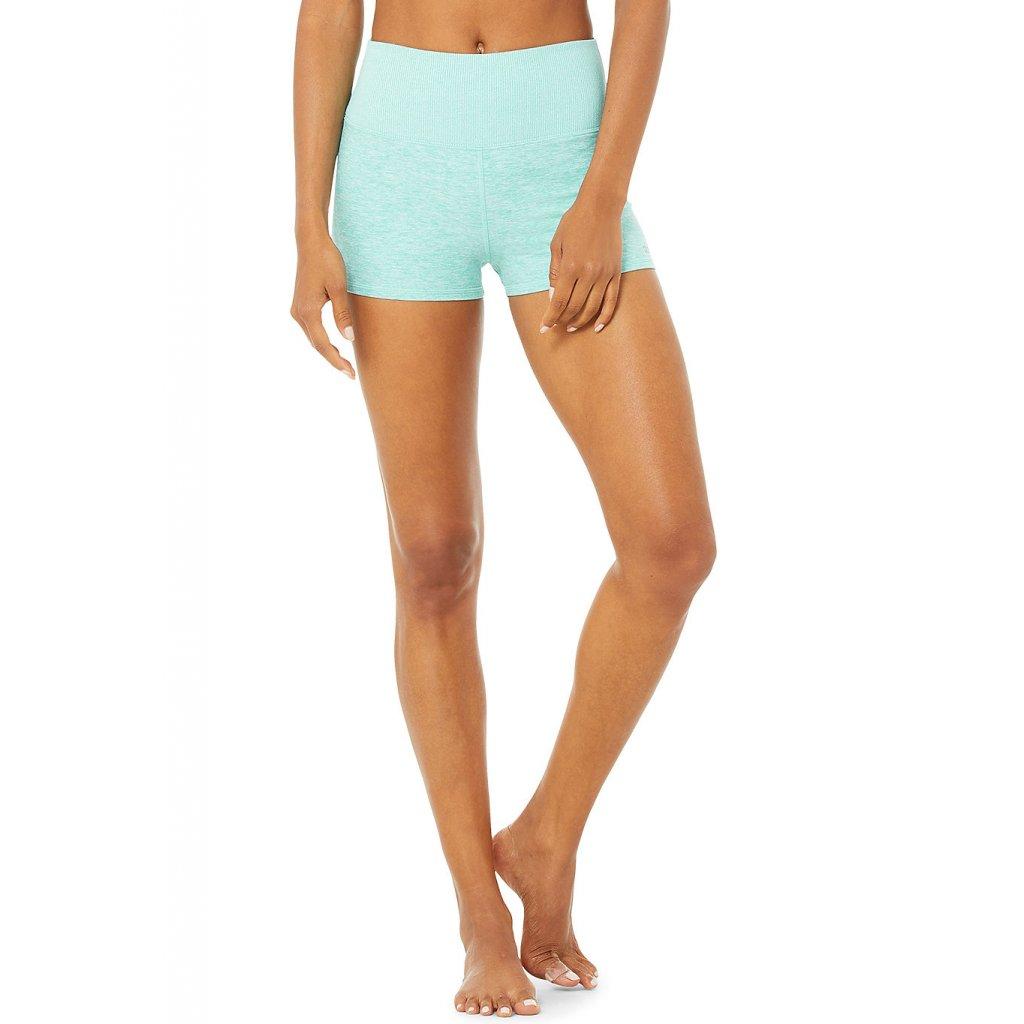 AloSoft Yoga Aura Short Blue Quartz Heather šortky tyrkysové