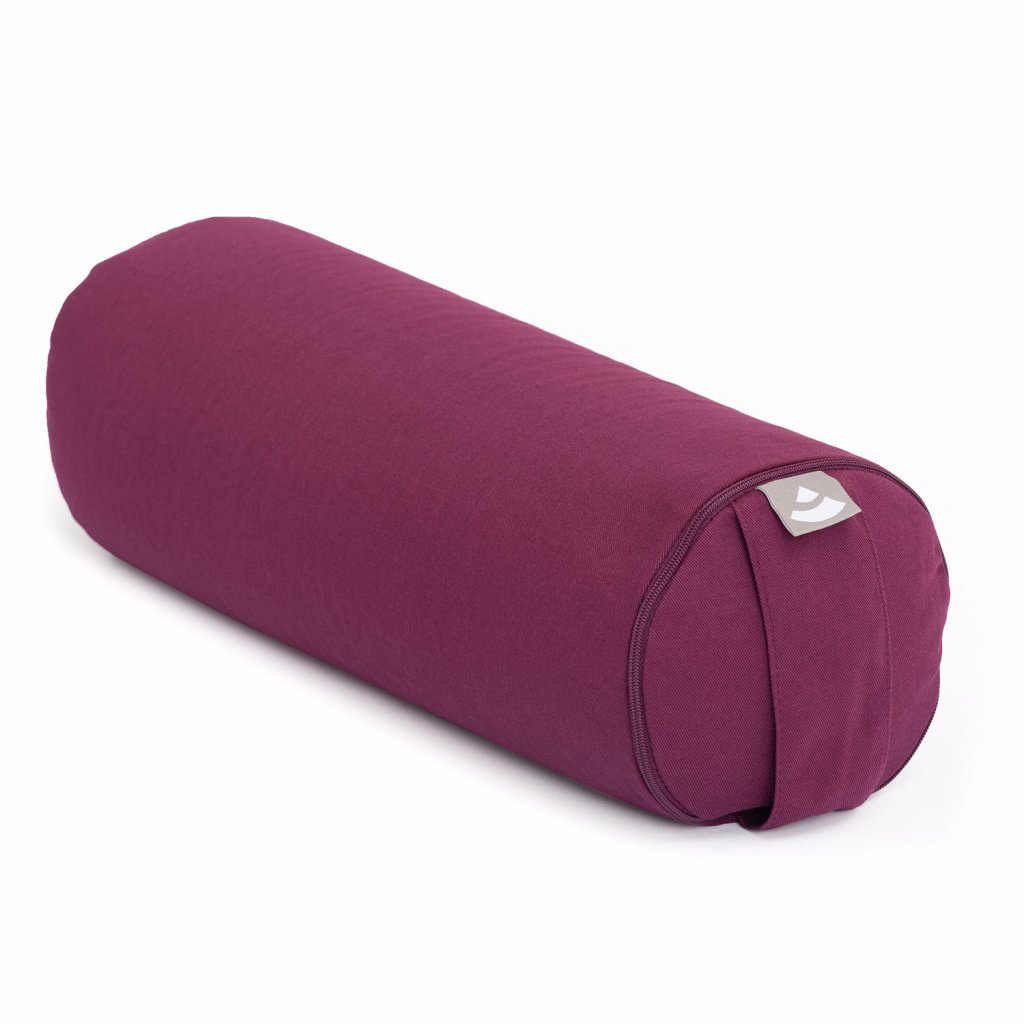 157a yoga meditation pilates yoga mini bolster eco baumwolle aubergine schraeg