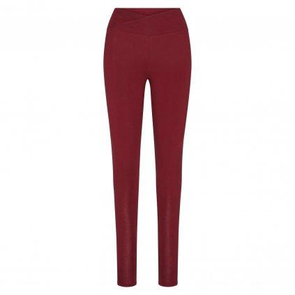 EA0KBXS yoga kleidung yamadhi basic leggins crossed waist burgundy front