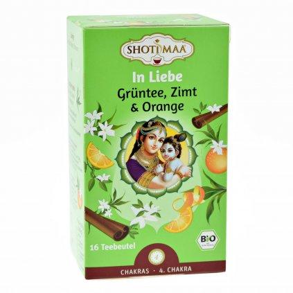 Shoti Maa Tea In Love Ajurvédsky BIO Zelený čaj so škoricou, bergamotom a pomarančom 16 x 2g