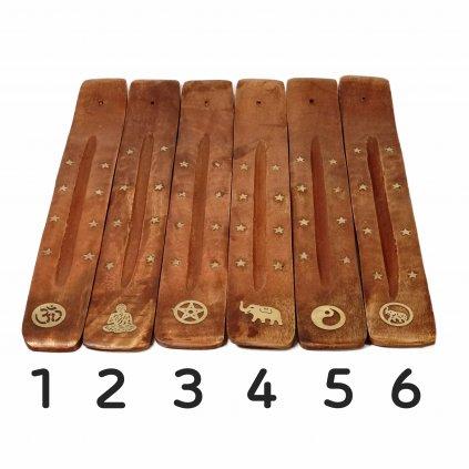 AWG Stojan na vonné tyčinky mangové drevo 25 cm - 6 vzorov