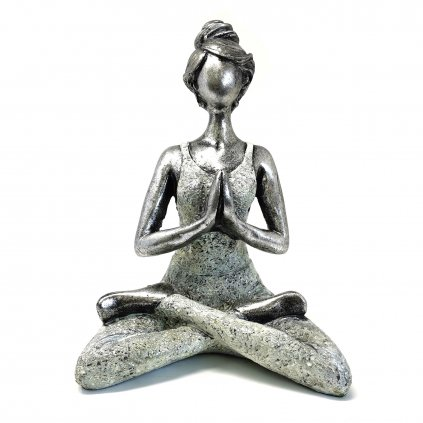 AWG Joga Lady Figurína Namasté strieborno - biela 24 cm