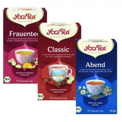 Yogi Tea SET Women's Tea, Bedtime Tea a Classic Tea ajurvédské bylinné čaje 3 ks 17 x 1,8 g