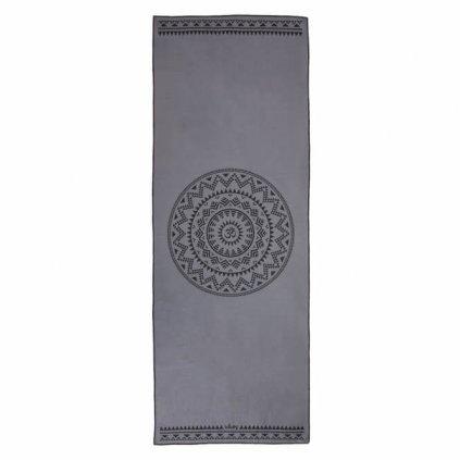 vyr 322907gem yoga yogatuch grip towel ethno mandala grau above