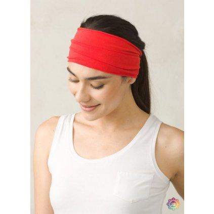 PRANA čelenka na jogu z organickej bavlny červená