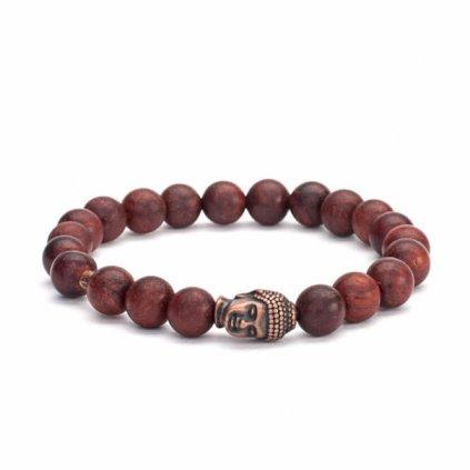 Bodhi Mala náramok hnedé drevo s amuletom Buddha