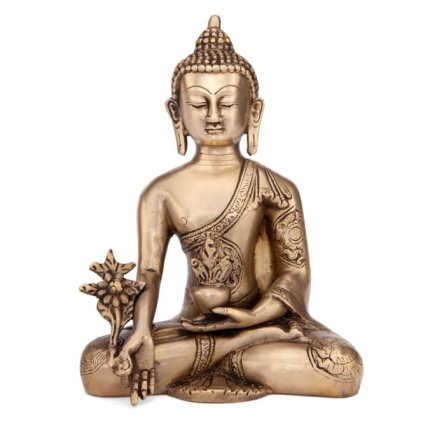 bud18 meditation zubehoer buddha statue golden frontal2