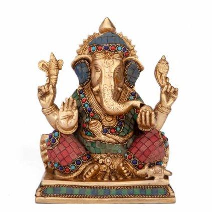 gan20b meditation zubehoer ganesh statue mehrfarbig frontal