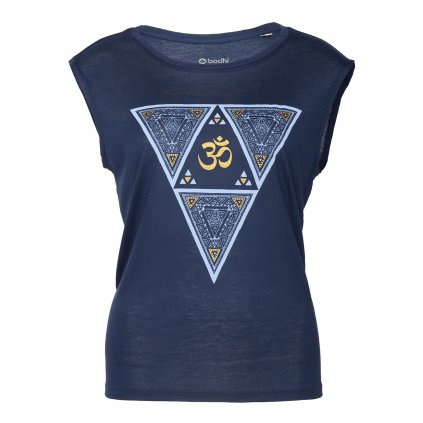 wtnet yoga kleidung bodhi yoga tank top ethno triangle navy mit gold