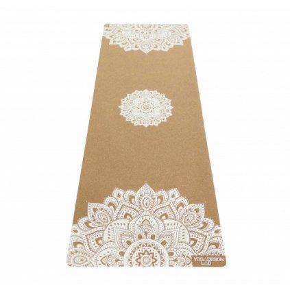 Yoga Design Lab CORK Mat Mandala Biela prírodná joga podložka korková s popruhom na nosenie 178 x 61 cm x 3,5 mm