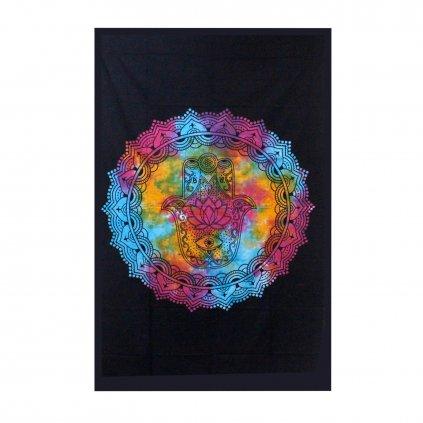 Nástenná plachta/Prikrývka Hamsa ruka čierna 130 x 200 cm
