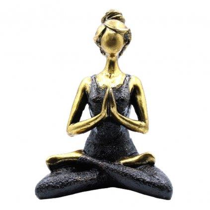 AWG Joga Lady Figurína Namasté - Bronzovo - Čierna 24 cm