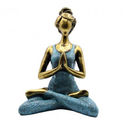 Joga Lady Figurína Namasté Bronzovo - Tyrkysová 24 cm