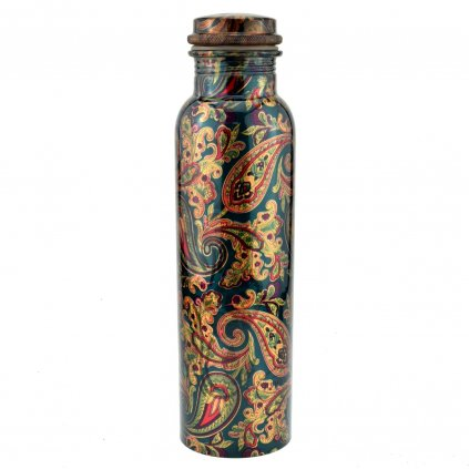 Copper Bottle Green Flower Design 1