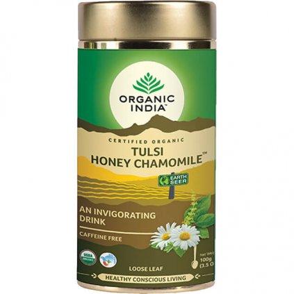 Tulsi s harmančekom a medom sypaný čaj Organic India
