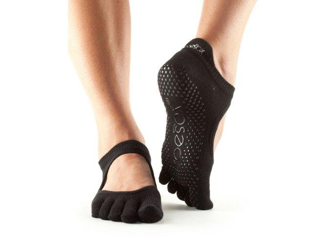 Toesox Fulltoe Bellarina Grip protišmkové ponožky (čierne)