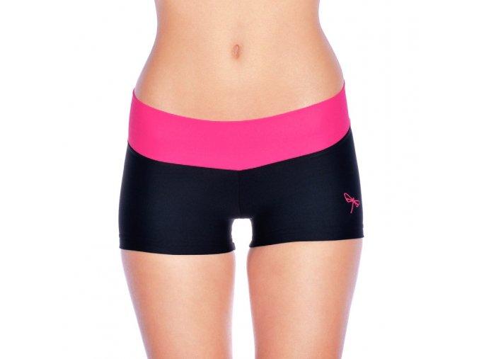 Dragonfly fitness kraťase Lena (čierno-ružové)