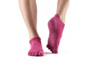 ToeSox Fulltoe Low Rise protišmkové ponožky Raspberry (ružová)