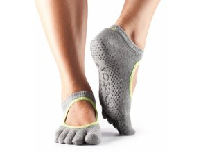 Toesox Fulltoe Bella Grip protišmykové ponožky Heather Grey lime
