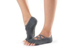 toesox half toe elle grip socks charcoal grey