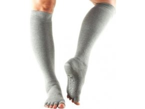 toesox knee high scrunch half toe yoga grip socks heather grey s