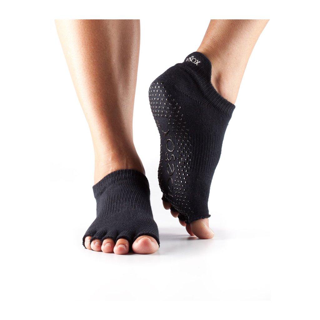 Toesox Halftoe Low rise slip grip black socks11938/XL2