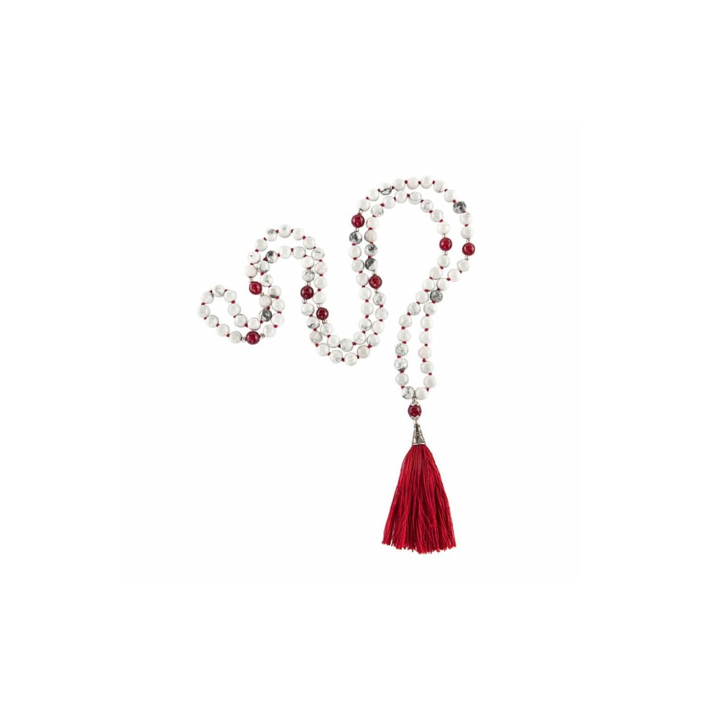 Bodhi Mala Necklace lift white / red onyx with red fringe, beads 108198/S192