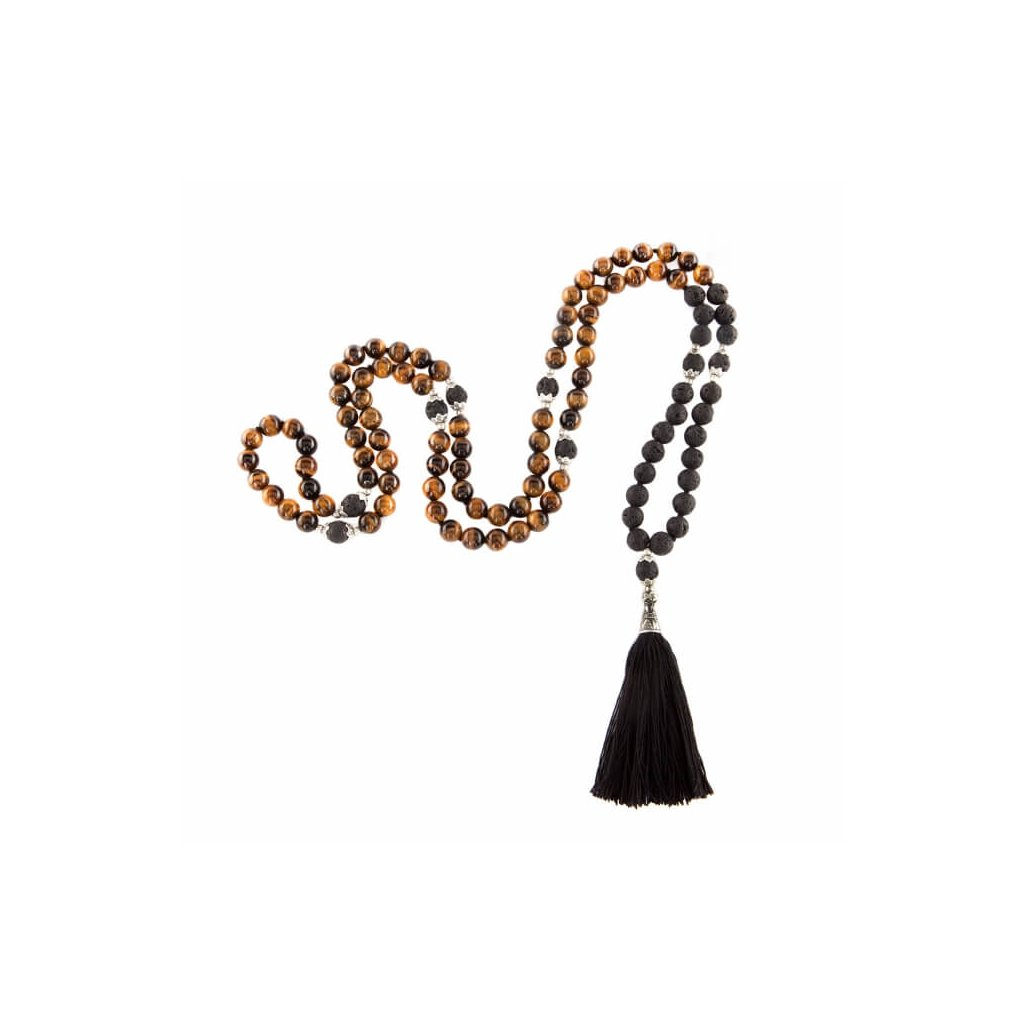 Bodhi Mala Tiger Eye necklace with black fringe, beads 108198/S194