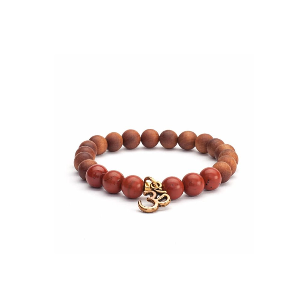 Bodhi Mala bracelet red jasper / sandalwood with OM amulet14004