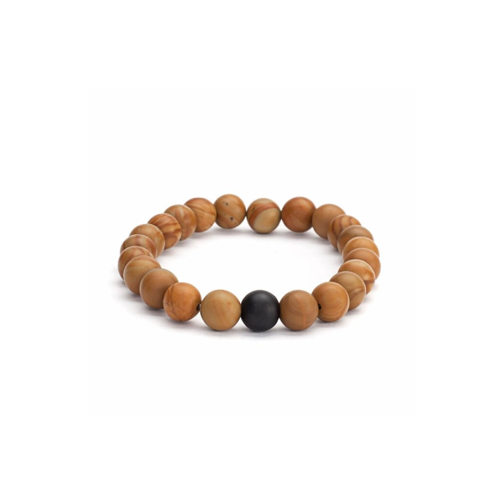 Bodhi Mala bracelet wooden beads with black agate14007/M