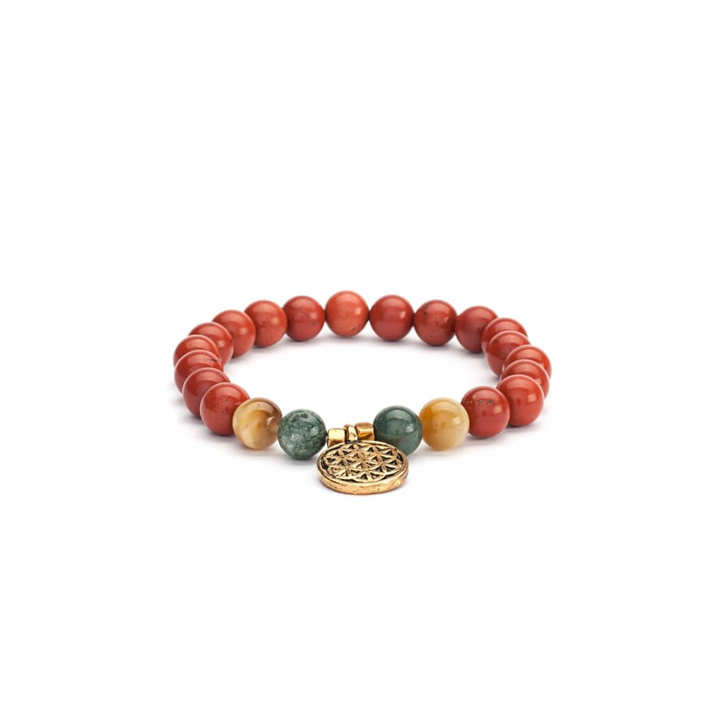 Bodhi Mala bracelet red jasper / agate / tiger eye with flower of life14010