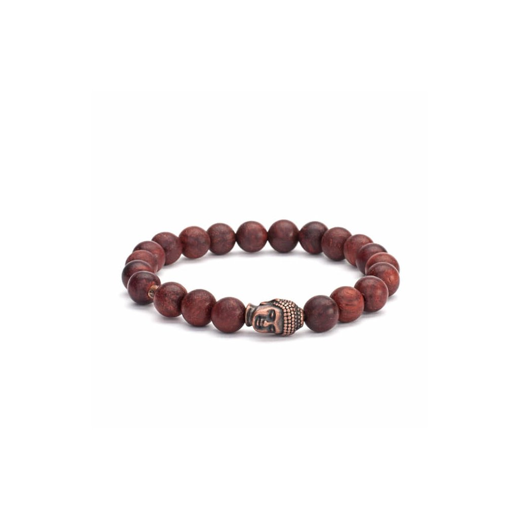 Bodhi Mala bracelet brown wood with a Buddha amulet14013/M