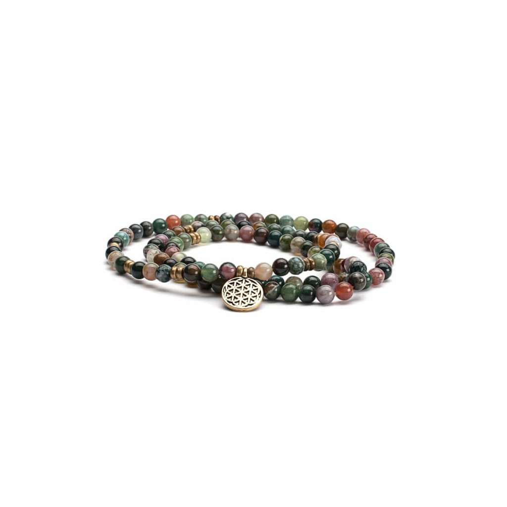 Bodhi Great little Indian agate bracelet with flower of life14016