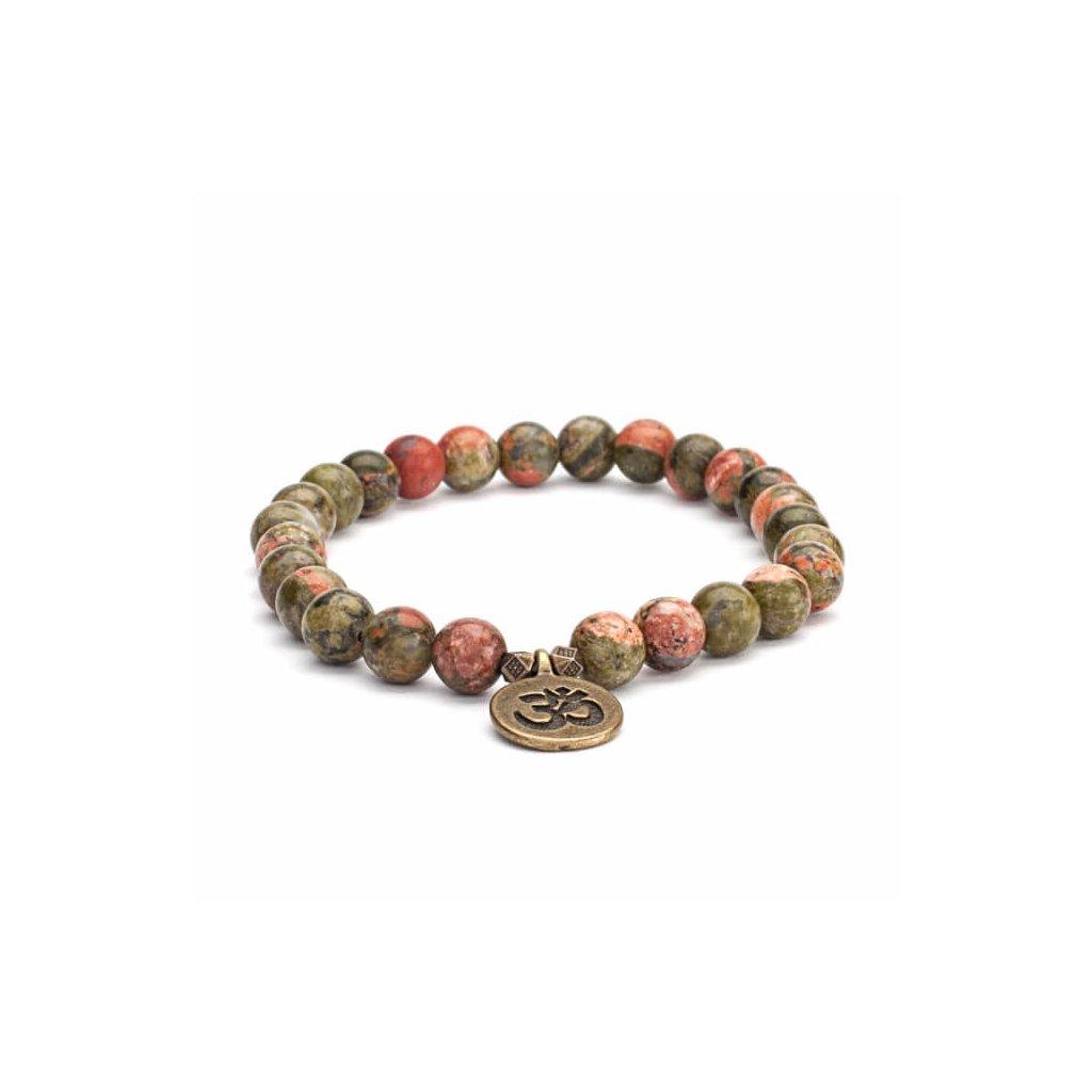 Bodhi Mala Unakite bracelet with OM amulet14025/M