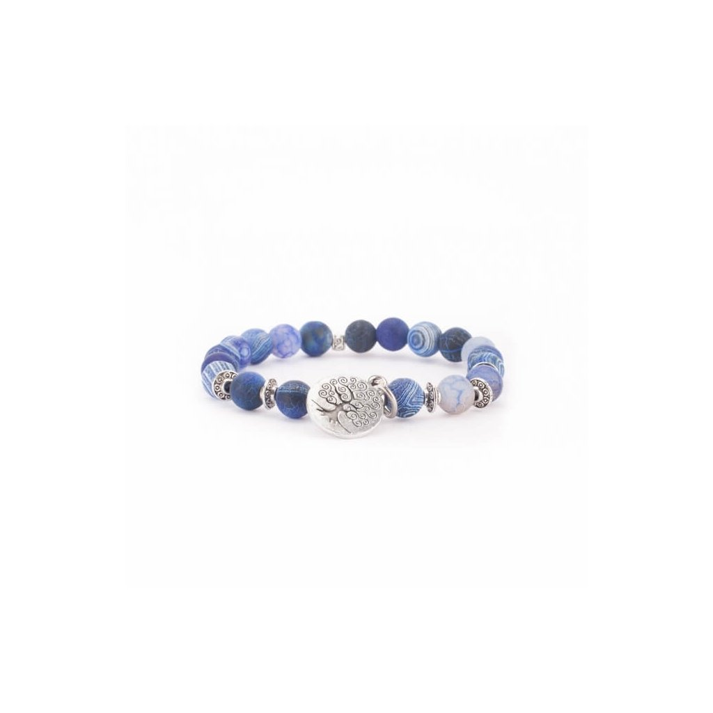 Bodhi Mala bracelet with blue agate, tree of life14049/M