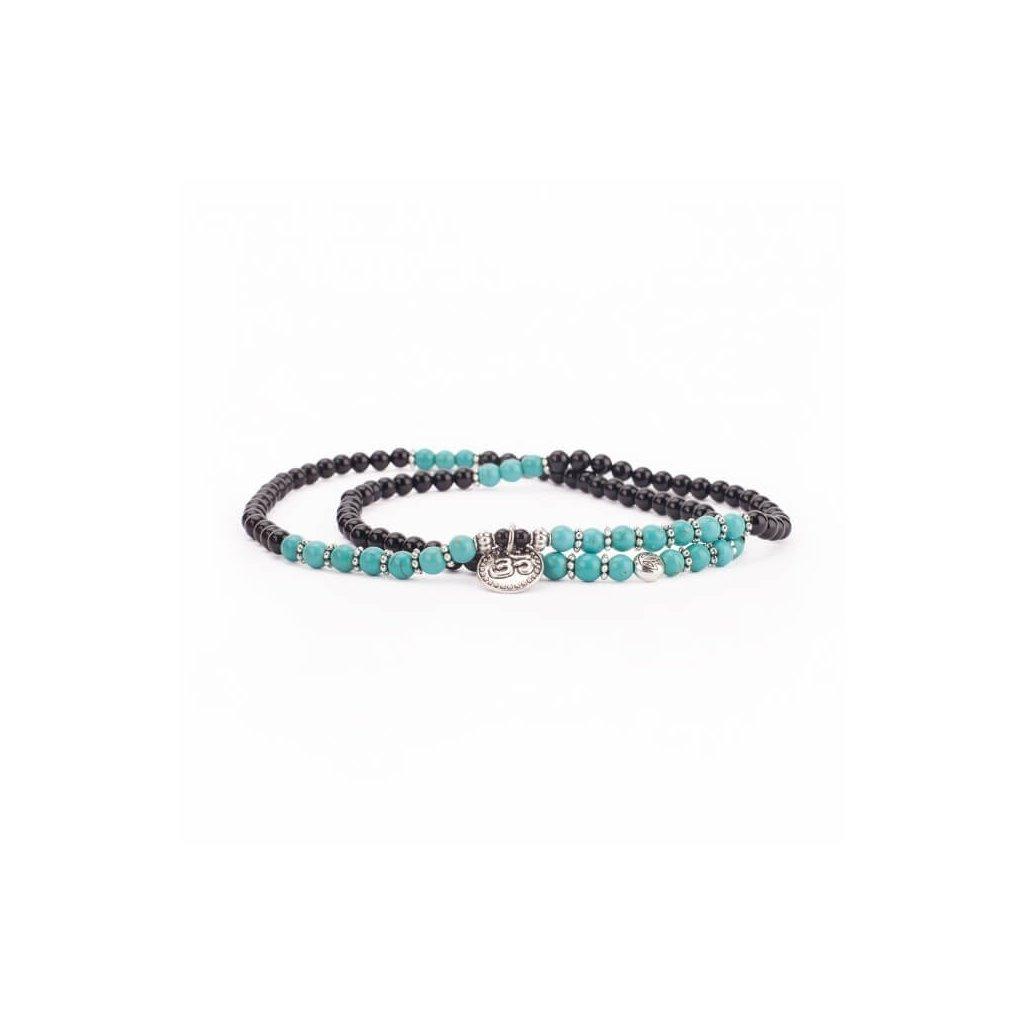 Great Bodhi Mala bracelet turquoise and black agate pendant OM14052