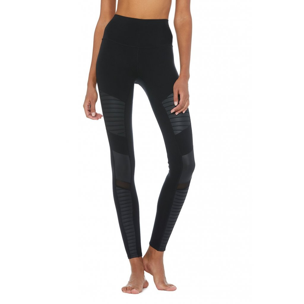 Alo High Waist Moto yoga leggings Black Gloss (Black)14253/XS