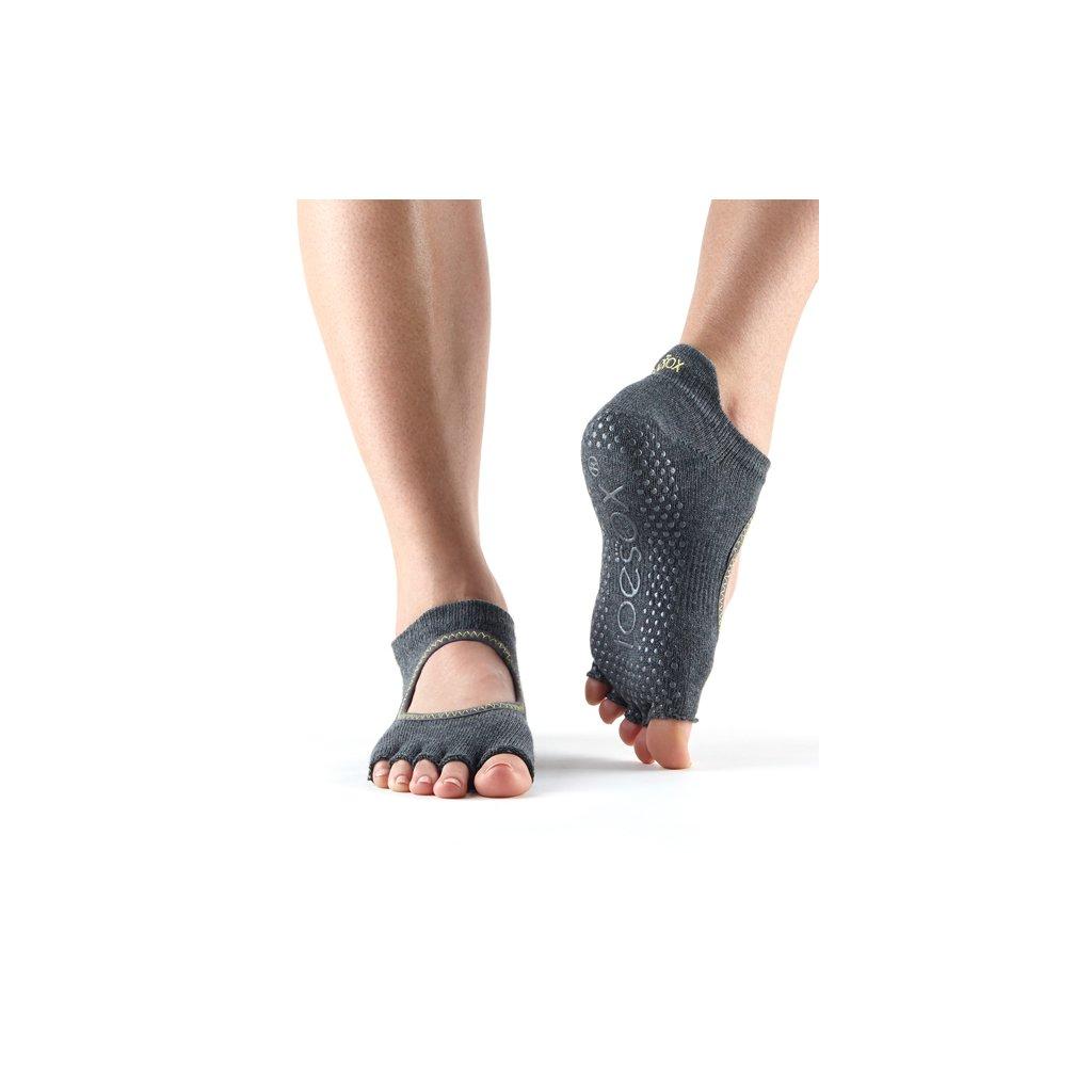 Toesox Halftoe Bellarina Grip anti-slip socks (Charcoal)14370/S