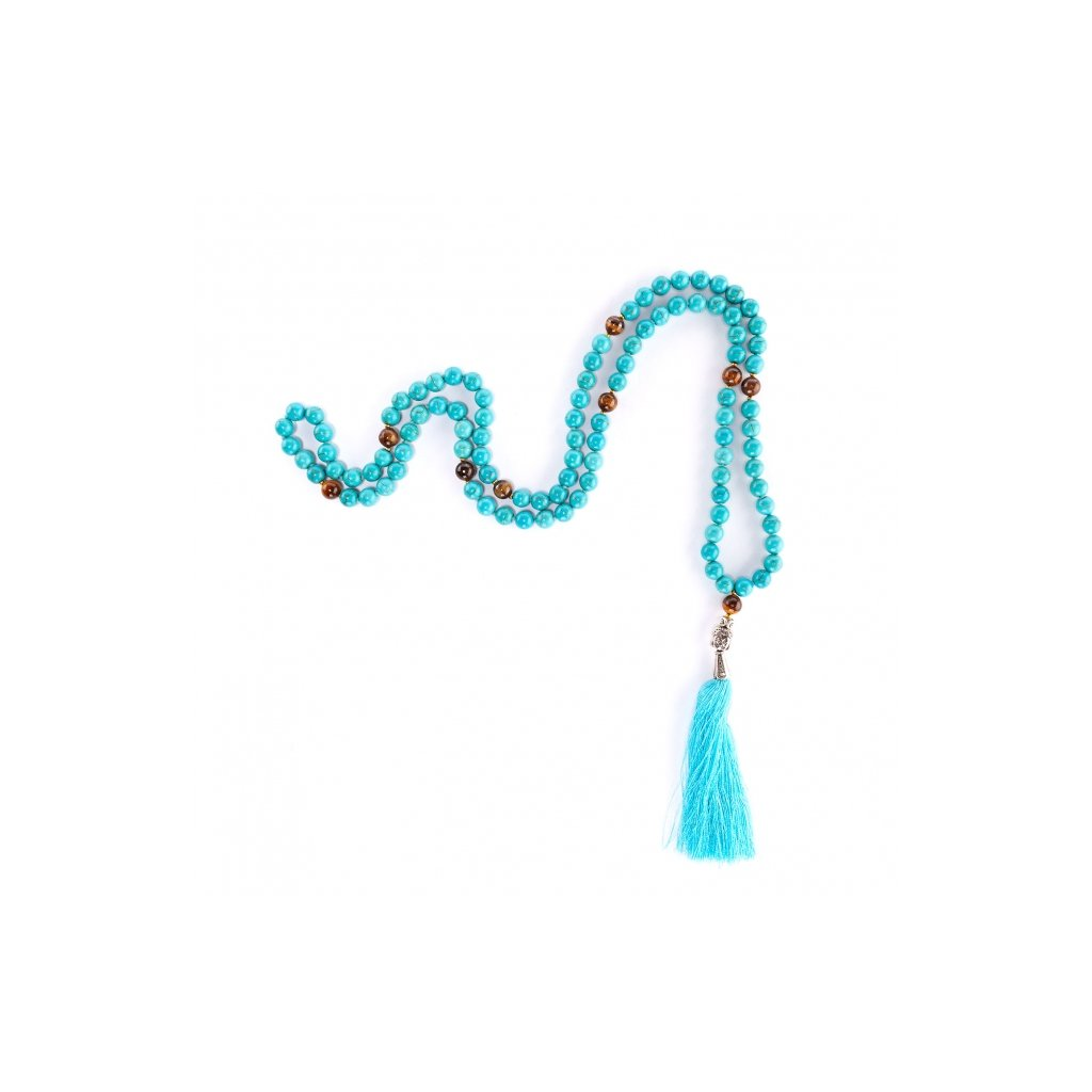 Bodhi Mala Necklace Turquoise in tiger eye beads 10815117