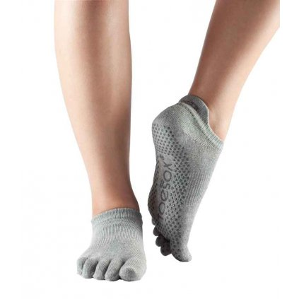 ToeSox Fulltone Low Rise slip socks Heather Gray11131/S2