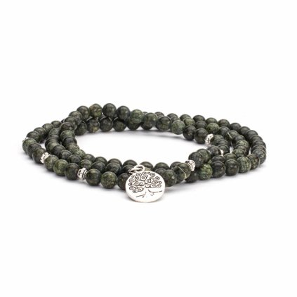 Great Bodhi Mala Bracelet Serpentine Green with flower of life198/S177