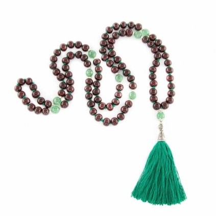 Bodhi Mala Necklace Rosewood / Onyx with green tassels, beads 108198/S195
