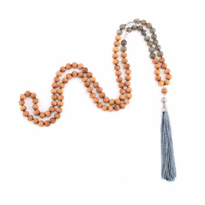 Bodhi Mala necklace with the scent of sandalwood / labrador / Rock Crystal with gray tassels, beads 108198/S197